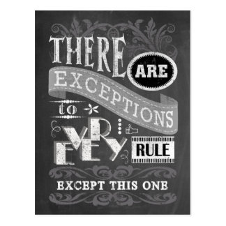 No Exceptions Chalkboard Postcard