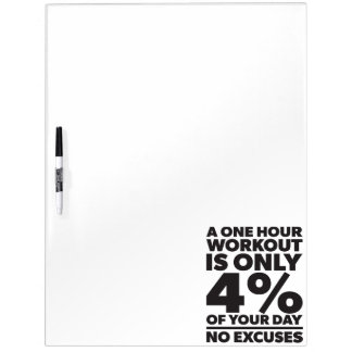 No Excuses - A One Our Workout Is 4% Of Your Day Dry Erase Board