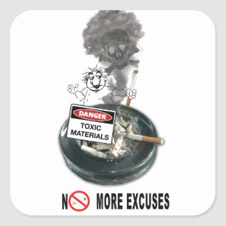 NO EXCUSES Stop Smoking Square Sticker