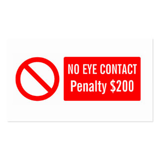 no eye contact pack of standard business cards