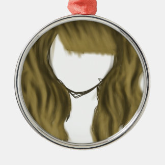 No Face Girl Silver-Colored Round Decoration
