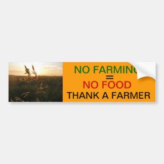 No Farming = No Food Bumper Sticker