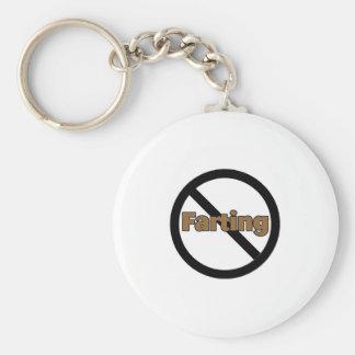 No Farting Basic Round Button Key Ring