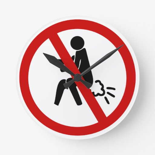 NO Farting ⚠ Funny Thai Toilet Sign ⚠ Round Clocks