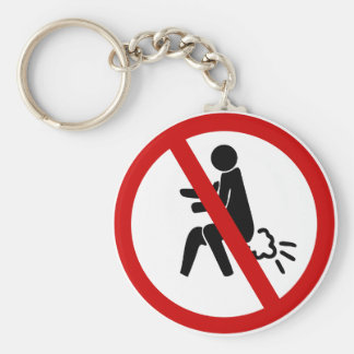 NO Farting ⚠ Funny Thai Toilet Sign ⚠ Basic Round Button Key Ring