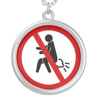 NO Farting ⚠ Funny Thai Toilet Sign ⚠ Round Pendant Necklace