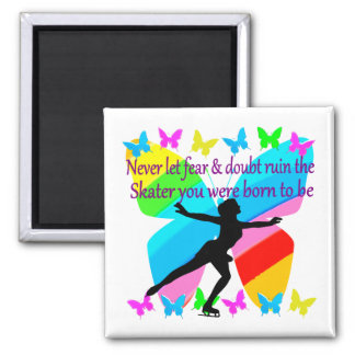 NO FEAR JUST FAITH FIGURE SKATER SQUARE MAGNET
