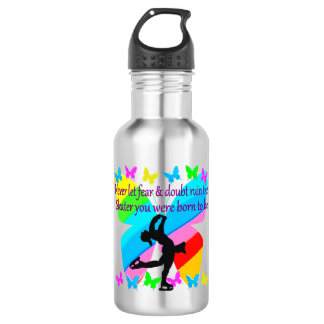 NO FEAR JUST FAITH FIGURE SKATING BUTTERFLY DESIGN 532 ML WATER BOTTLE