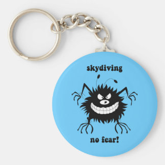 no fear skydiving basic round button key ring