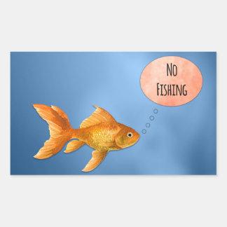 No Fishing Goldfish Rectangular Sticker