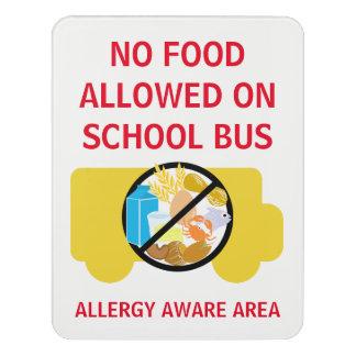 No Food Allowed On School Bus Allergy Aware Door Sign