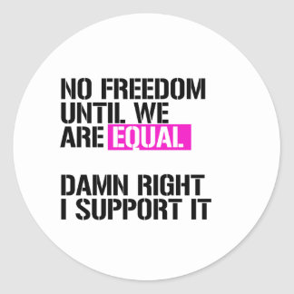 No Freedom Until We are Equal - I support it - - L Classic Round Sticker