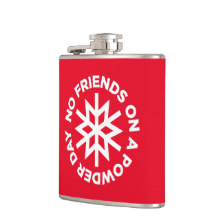 No friends on a powder day (white graphic) hip flask