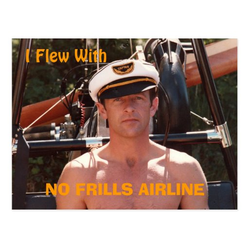 'No Frills Airline' Postcard