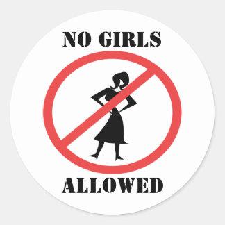 No Girls Allowed Round Sticker