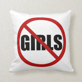 No Girls Allowed Sign Typography Pillow