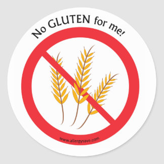""" No Gluten for me"" label Round Sticker"