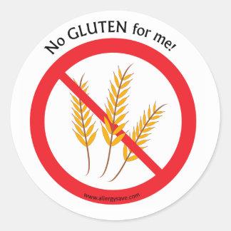 """"""" No Gluten for me"""" label Round Sticker"""