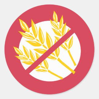 No Gluten or Wheat Food Allergy Celiac Alert Round Sticker