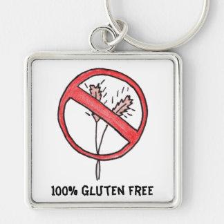 No gluten/Wheat Free! Silver-Colored Square Key Ring