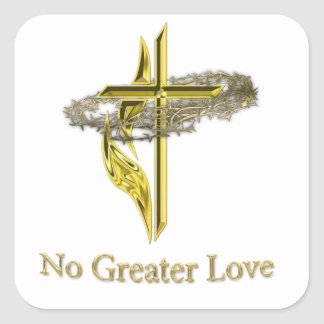 No greater love square sticker