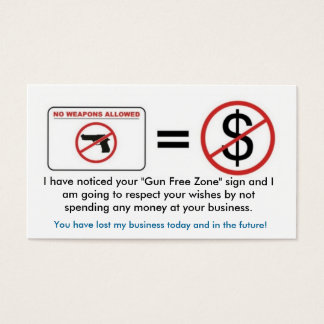 No Gun, No Money Business Card