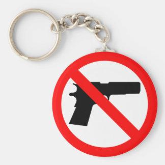 No Guns Anti Gun Basic Round Button Key Ring