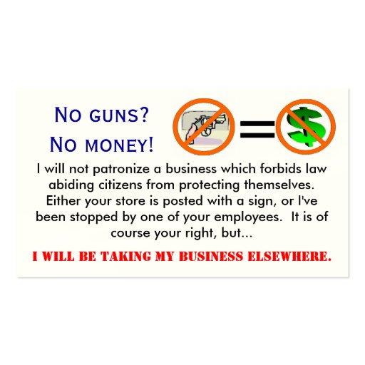 No guns = No money business card