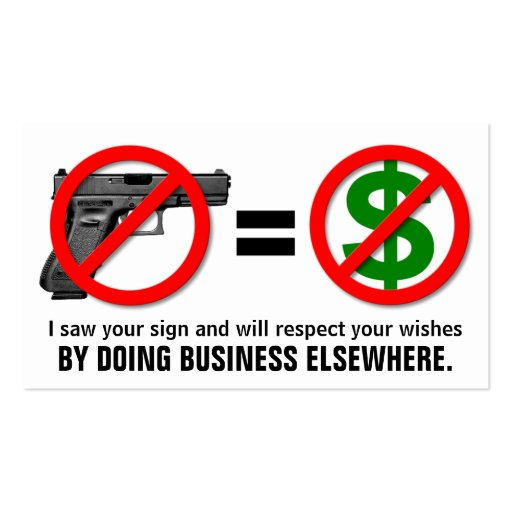 """No Guns, No Money"" Customizable Business Card"
