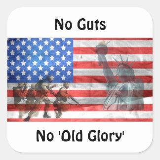 No Guts, No 'Old Glory' Square Sticker