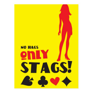 NO HAGS only STAGS poker invitation Postcard