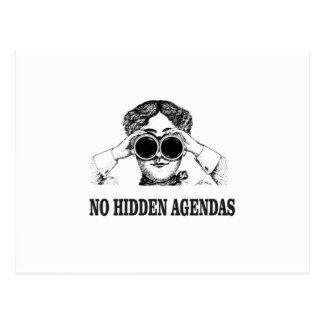 no hidden agendas postcard