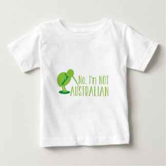No, I'm NOT AUSTRALIAN (with kiwi bird and map) Baby T-Shirt