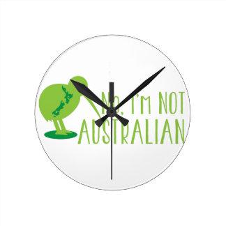 No, I'm NOT AUSTRALIAN (with kiwi bird and map) Wall Clock