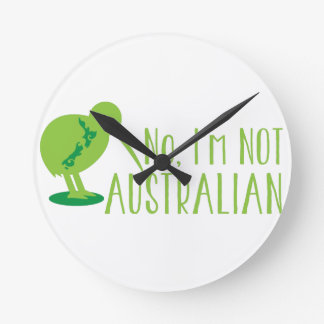 No, I'm NOT AUSTRALIAN (with kiwi bird and map) Wallclock