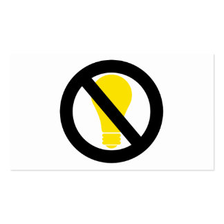 no incandescent bulbs pack of standard business cards