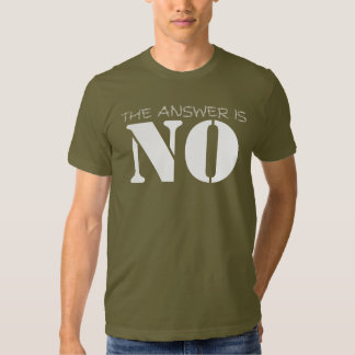 No is the Answer Tshirt