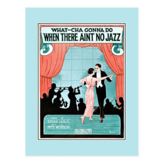 No Jazz 1920s jazz age vintage sheet music cover Postcard