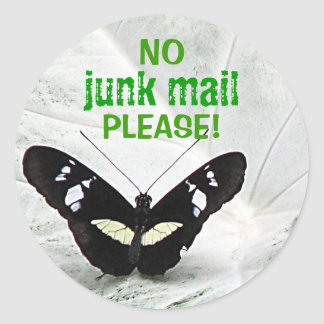 NO, junk mail, PLEASE! Classic Round Sticker