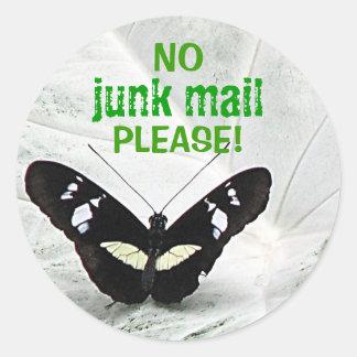 NO, junk mail, PLEASE! Round Sticker