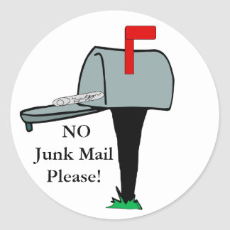 NO Junk Mail Please Sticker