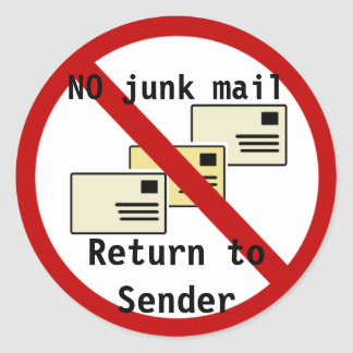 No Junk Mail - Return to Sender Stickers