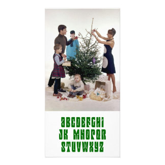 No L for Christmas Green Letters Photo Card
