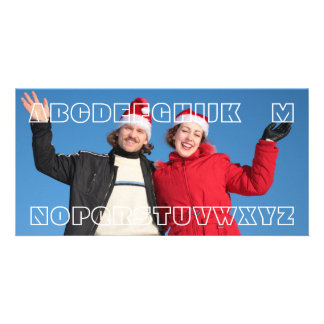 """No L"" Funny Wordplay Joke Custom Christmas Card Photo Card"