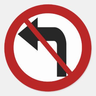 No Left Turn Sticker