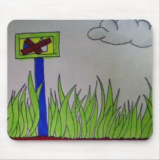 No-Likes Allowed Grass Field, cloudy Mouse Pad