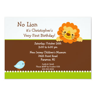 No Lion Kids Birthday Invitation