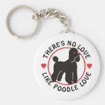 No Love Like Poodle Love-Black Basic Round Button Key Ring