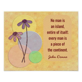 No Man An Island - John Donne quote print