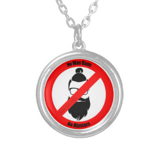 No Man Buns No Hipsters Silver Plated Necklace